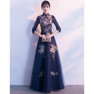 Navy Blue Floral Cheongsams Wedding Dinner Prom Dress