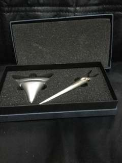 Letter opener and name card holder in box . Unused
