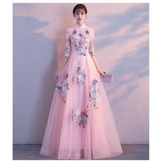 Pastel Pink Floral Cheongsams Wedding Prom Dress