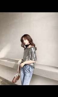 Oversized Sequinned Top in Silver