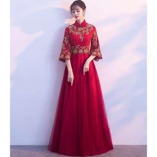Red Wine Gold Sequin Lace Cheongsams Wedding Prom Dress