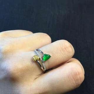 ☘天然A貨翡翠老坑種陽綠18K白金鑽石戒指💍大牌設計款😍 種色都是無可挑剔的靚貨👍