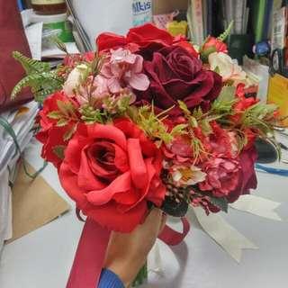 結婚紅絲花球