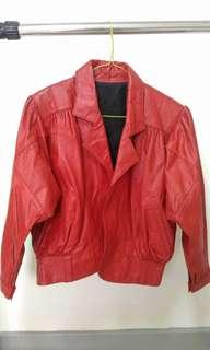 紅色復古真皮短外套