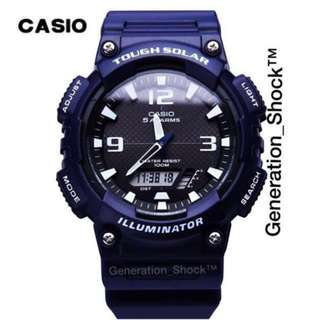 BEST⌚️SELLING : 1-YEAR OFFICIAL CASIO WARRANTY : BNIB Originally AUTHENTIC Casio TOUGH☀️SOLAR WATCH in DEEP NAVY BLUE STEALTH MATT For Unisex 👞👠 Best For Tough & Most HARDCORE Rough Users By OFFICIALLY GSHOCK COMPANY