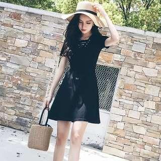 V Neck Lace Up Short Sleeve Bodycon Skater Dress