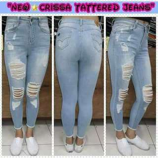 Overruns  tattered Skinny jeans 💰530 ☑Light blue  ☑High quality ☑High waist ☑Sizes: 25 to 33 *j.r