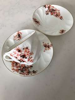 Vintage Design Teacup with 2 Matching Saucers (G)