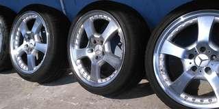 Benz呔軨一套、米仔、pilotsport3、225/40/18/ET35、8J半