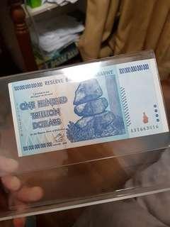 Zimbabwe One Hundred Trillion dollar note 2008