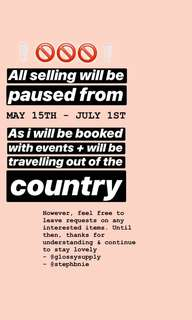 NOTICE ON SELLING