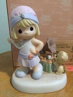 Limited Edition Precious Moments Girl with Puppy figurine : Tuning In to happy times