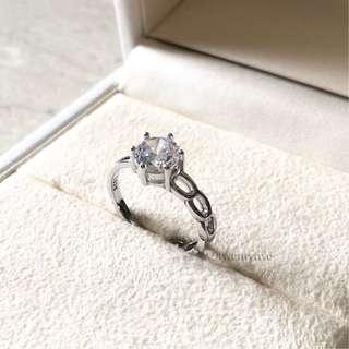 SRU-002 • S925 Silver Half Link Crystal Ring (Men Women) • FREE SIZE ADJUSTABLE •