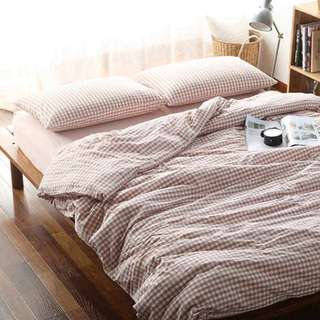 Muji style cotton single bed linen sheet full set pink