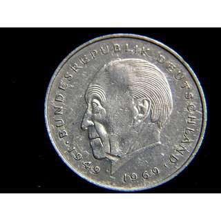 1977年德意志聯邦共和國建國20週年紀念首任總理康拉德·艾德諾像2馬克鎳幣