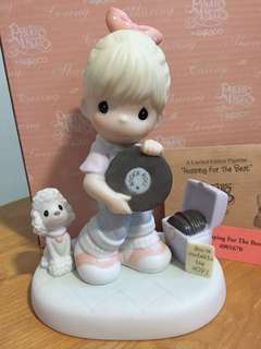 Limited Edition Precious Moments Girl with laser Disc figurine : Hopping for the Best