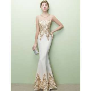 Beige White Sleevess with Gold Sequin Bead Mermaid Wedding Prom Dress