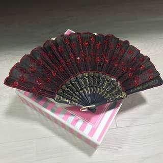 Red embellished fan with gold details - black
