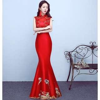 Chinese Red High Collar Wedding Prom Dress