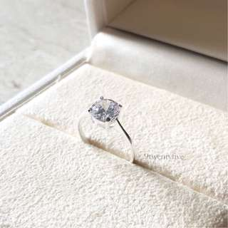 SRW-030 • 925 Sterling Silver Diamond Proposal Ring • FIXED SIZE