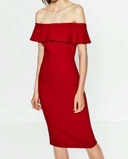 Zara red off shoulder dress S size