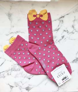 Pink with yellow ribbon Korean cute socks high quality brand new