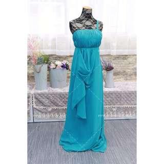 N120 藍綠雪紡晚裝 姊妹裙 促銷 BLUE bridesmaid dress WEDDING SAMPLE SALES ANNUL DINNER