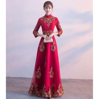 Red Wine 3/4 Long Sleeve Tea Ceremony Cheongsams Wedding Prom Dress