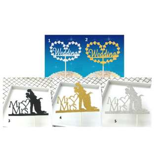 (3 for $7.50)Mr & Mrs Cake Topper
