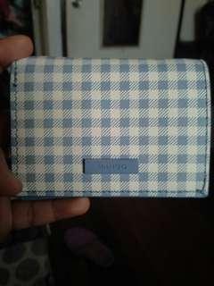 Mango Blue and White Gingham Plaide Mini Wallet