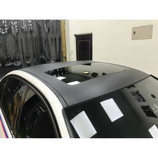 【騰信車體包膜】 BMW F30車頂/雨切卡夢包膜