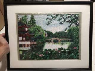 Scenery Cross Stitch Embroidery artwork with frame