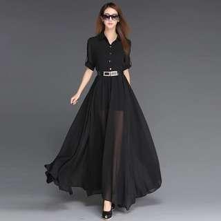 🚚 春夏歐美氣質高腰短袖修身顯瘦黑色超長款雪紡連衣裙拖地大擺長裙