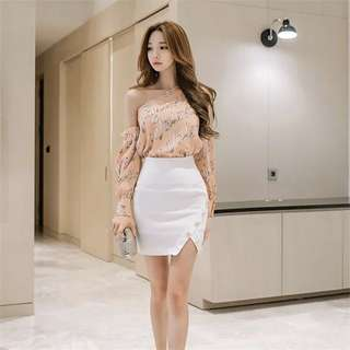 Wording Toga Cold Shoulder Long Sleeve Top High Waist Slit Front Bodycon Skirt 2 Piece Set