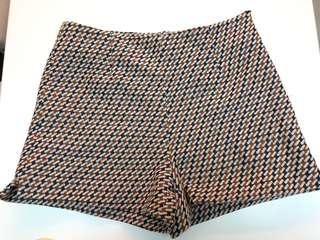 Zara vintage retro shorts 千鳥格紋復古短褲