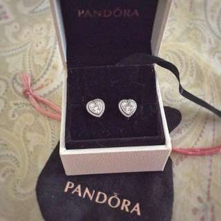 Repriced!Pandora sparkling love heart stud earrings