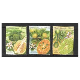 MALAYSIA 2018 MALAYSIAN CITRUS FRUITS LIME COMP. SET OF 3 STAMPS IN MINT MNH UNUSED CONDITION