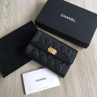 Chanel boy wallet 黑拼金扣