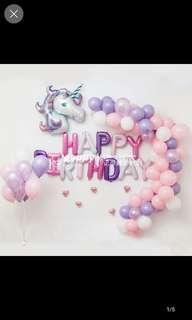 Birthday party - unicorn balloons