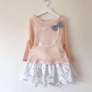 Girls batwing top + lace skirt size 4