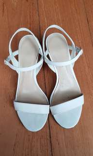 Charles and Keith White Sandals with gold block heel
