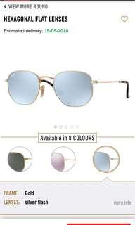 Rayban Hexagonal Sunglasses silver mirror / gold