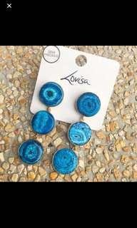 Brand New Lovisa Semi Precious Bohemian Circular Dangling Earrings geode