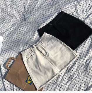 Ready Stock High Waisted Denim A Line Khaki Skirt