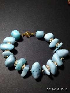 Chakkra amazonite,corals, tiger's eye stones bracelet
