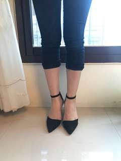 韓版繞腳高跟鞋 粗跟