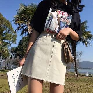 Ready Stock High Waisted Denim Skirt A Line