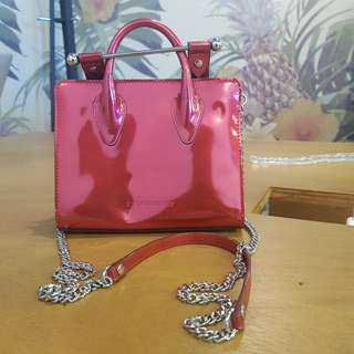 Strathberry red metallic bag