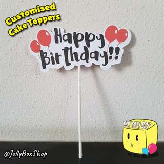 Customizable Happy Birthday with Balloons Cake Toppers  For Sale