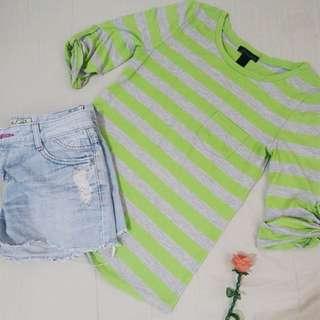 Green Three-fourths Stripes